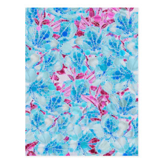 Blue Turquoise Pink Abstract Flowers Postcard