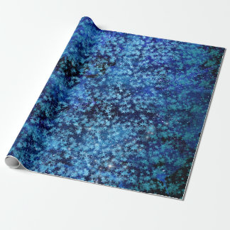 Blue Turquoise Stars Galaxy Startled Confetti Wrapping Paper