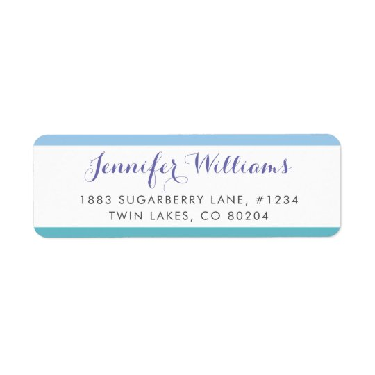 Blue Turquoise Stripes Modern Return Address Label