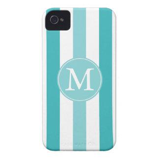 Blue Turquoise Stripes Monogram iPhone 4 Cover