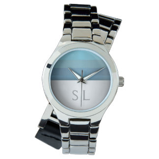 Blue Turquoise Stripes Pattern Monogram Watch