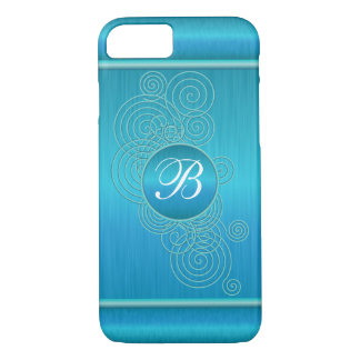 Blue Turquoise Swirls   Monogram iPhone 7 Case