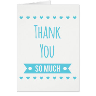 Blue Turquoise Thank You Hearts - Wedding Party Card