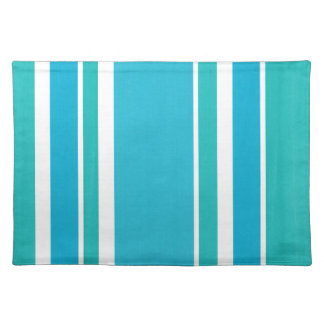 Blue Turquoise White Stripes Placemat
