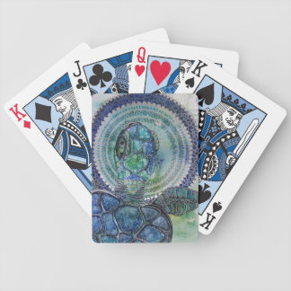 Blue turtle bicycle playing cards