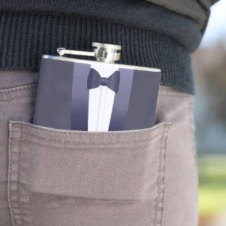 Blue Tuxedo Wedding Groomsmaid Hip Flask