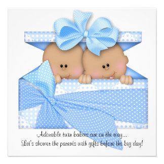 Blue TWIN Baby Shower Invitation African American