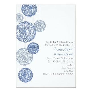 Blue Twine Globes Rehearsal Dinner Invitation