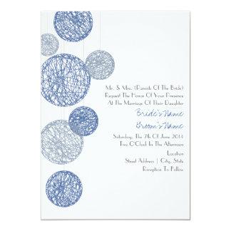 Blue Twine Globes Wedding Invitation