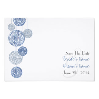 Blue Twine Globes Wedding Save The Date 9 Cm X 13 Cm Invitation Card