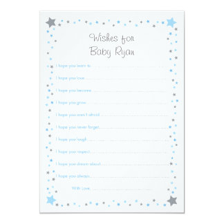 Blue Twinkle Star Wishes for Baby Cards 13 Cm X 18 Cm Invitation Card