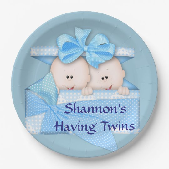 Blue Twins Baby Shower Party Paper Plate