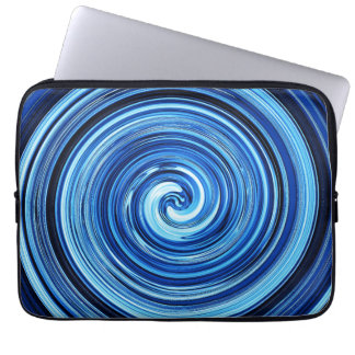 Blue Twirling swirling spiral abstract pattern Computer Sleeves