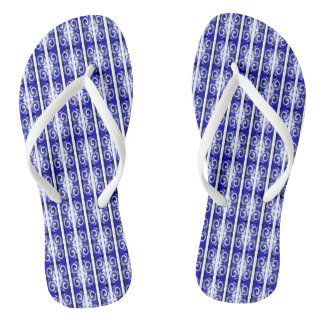 Blue twirls flip flops