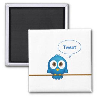 Blue twitter bird cartoon square magnet