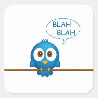 Blue twitter bird cartoon square sticker
