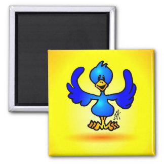 Blue Twitter Bird Square Magnet