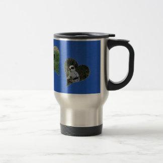 Blue Two Heart Frame Stainless Steel Travel Mug