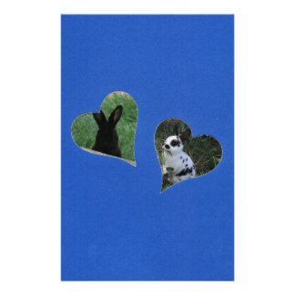 Blue Two Heart Frame Personalized Stationery