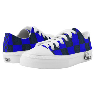 Blue Two Toned Mosaic Checks Pattern, Low Tops