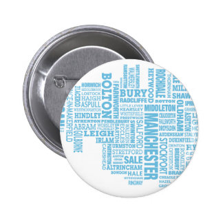 Blue Type map of Greater Manchester 6 Cm Round Badge