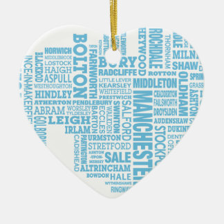 Blue Type map of Greater Manchester Ceramic Heart Decoration