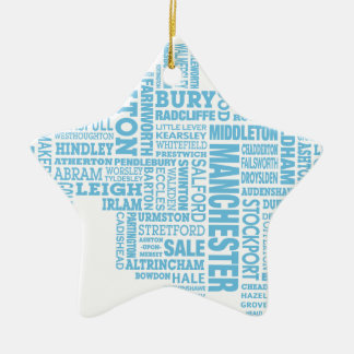 Blue Type map of Greater Manchester Ceramic Star Decoration