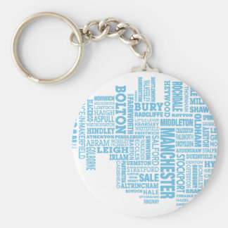 Blue Type map of Greater Manchester Key Ring