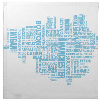 Blue Type map of Greater Manchester Napkin