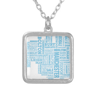 Blue Type map of Greater Manchester Silver Plated Necklace