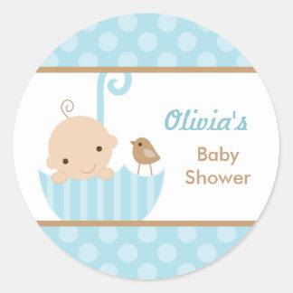 Blue Umbrella Baby Boy Shower Stickers