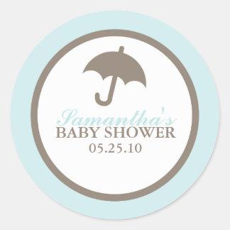Blue Umbrella Baby Shower Classic Round Sticker