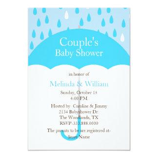 Blue Umbrella Baby Shower Invitation