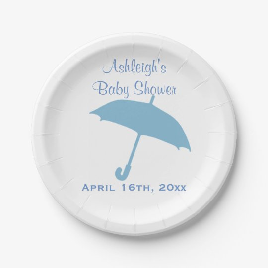 Blue Umbrella Baby Shower Paper Plate