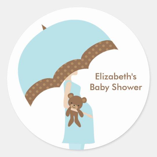 Blue Umbrella Baby Shower Stickers