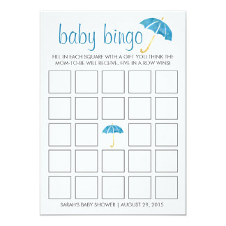 Blue Umbrellas Baby Shower Bingo Game Card