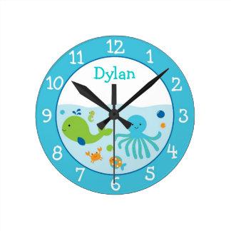 Blue Under The Sea Nursery Round Clock