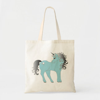 Blue unicorn fantasy tote bag
