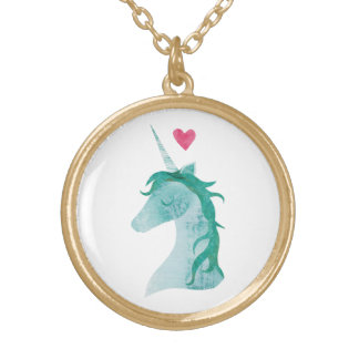 Blue Unicorn Magic with Heart Gold Plated Necklace