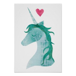 Blue Unicorn Magic with Heart Poster