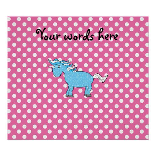 Blue unicorn on pink polkadots posters