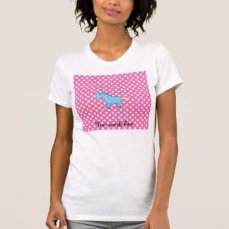 Blue unicorn on pink polkadots t shirts