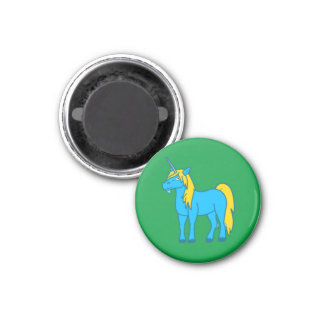 Blue Unicorn with Gold Mane 3 Cm Round Magnet
