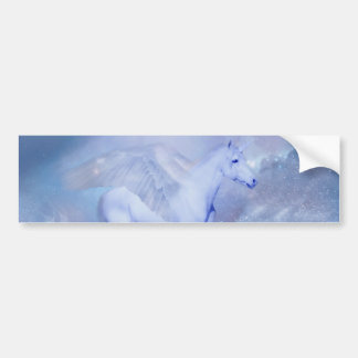 Blue Unicorn with wings fantasy Bumper Stickers