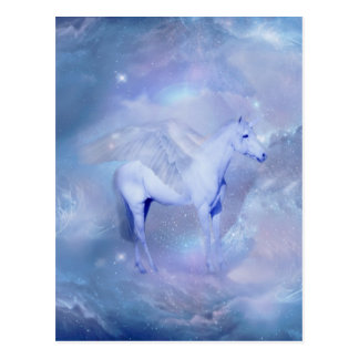 Blue Unicorn with wings fantasy Postcard