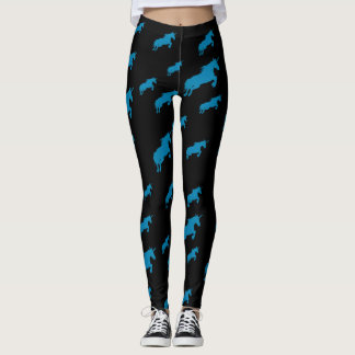 Blue unicorns, running magic horses pattern leggings