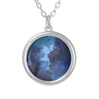 """BLUE UNIVERSE ABSTRACT"""" ROUND PENDANT NECKLACE"""