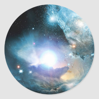 Blue Universe Cosmos Round Sticker