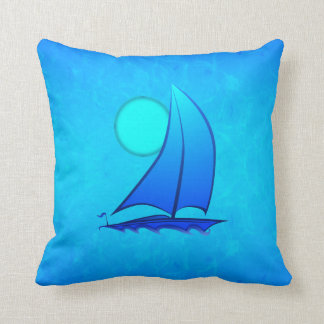 Blue Vector Sailboat Cushion