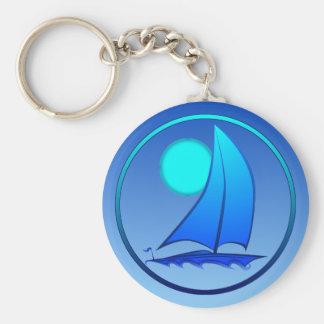 Blue Vector Sailboat Key Ring